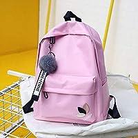 School Backpack Printing Nylon Girls School Bags Backpack Female for Teenagers High School Student Schoolbag Women College Wind Bookbag (Color : Pink Leaf, Size : -)