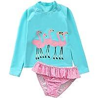 Baby Toddler Girls Rash Guard 2-Piece Swimsuit Set Flamingos Long Sleeve Bikini Swimwear UPF 50+ Sun Protection FBA