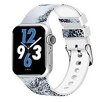 Aomoband 花柄バンド Apple Watch 38mm 42mm 40mm 44mm対応 ソフトシリコンパターン 交換用ストラップ iWatchシリーズ4/3/2/1用 38mm/40mm