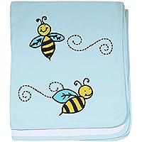 CafePress – Bees – スーパーソフトベビー毛布、新生児おくるみ ブルー 071498956625CD2