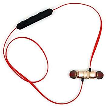 SOROS Bluetooth4.1 ステレオイヤホンマイク 各種スマホ対応 マグネティック 無線 高音質 apt-X対応 スポーツタイプ カナル型 スリムタイプ リモコン付き USBケーブル付属 レッド 3156-002Red