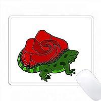 魅力的な赤いバラの花アートの前に芸術的な緑イグアナ PC Mouse Pad パソコン マウスパッド