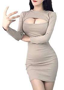 ブラック , ベージュ  サイズ感 ( S ~ M ) 着丈83cm バスト約80cm ウエスト33cm 袖57cm  胸 あき がとっても セクシー な ミニ ワンピース です。 リブ ニット で あたたかい 長袖 なので、 秋 冬 服としておススメです。 スカート の ミニ丈 も かわいい ですよ。 デート や おでかけ 部屋着 にもぴったりです☆ 胸元 開き トップス が好きな方にもおススメです♪