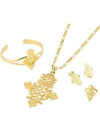 Ethiopian Jewelry Big Cross 8.7cm Pendant Jewelry Set Gold Coptic Crosses African Cross