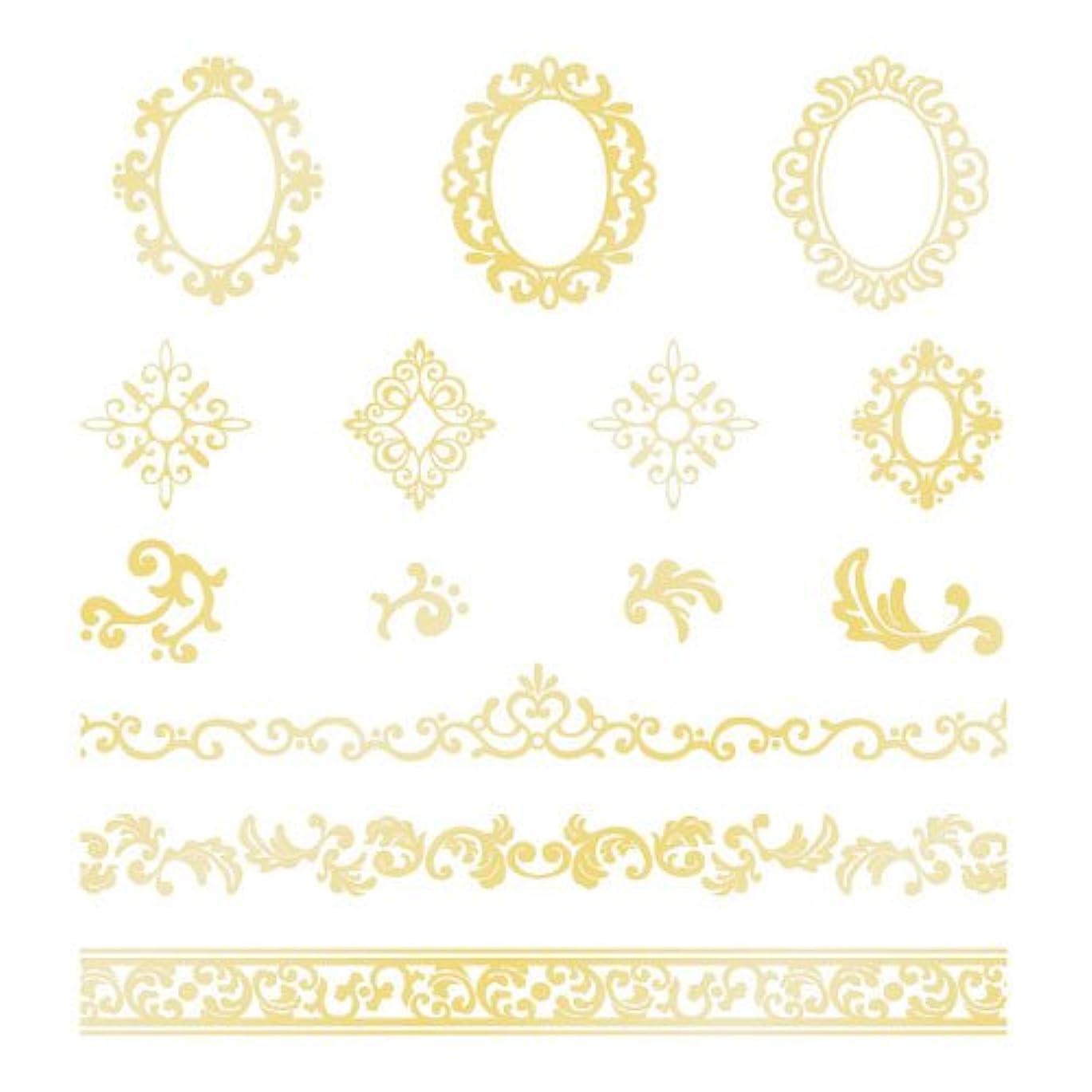 アクセシブルキャラバンガラスツメキラ ネイル用シール  プレミアム ロココ ゴールド