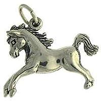 スターリングシルバーメンズ1.5MMボックスチェーン3d Large Jumping Pony動物ペンダントネックレス