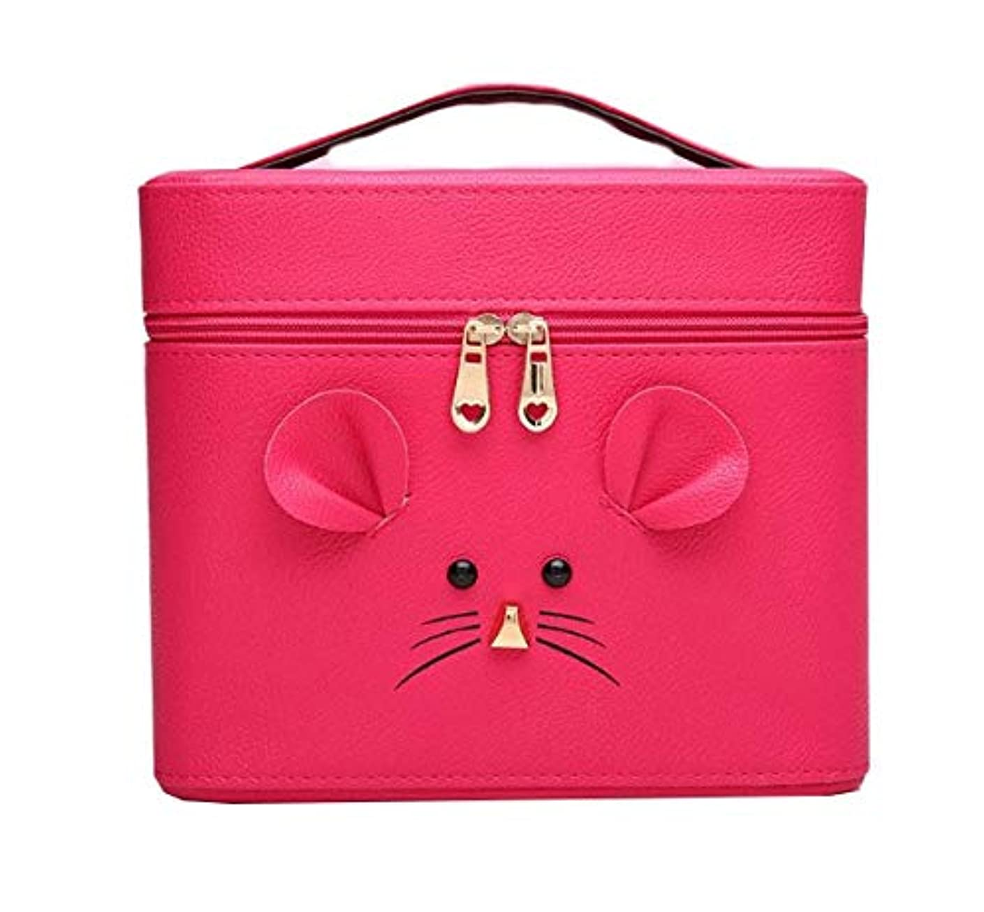 農学回転させる刺繍化粧箱、ローズレッド漫画マウス化粧ケース、ポータブル旅行化粧品ケース、美容ネイルジュエリー収納ボックス (Size : M)