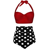 Angerella Women Retro Vintage Underwire High Waisted Bathing Suits Bikini Set
