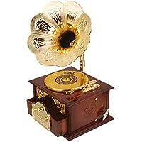 SONONIA 2台 オルゴール レトロ 蓄音機のデザイン メカニカル ディスク 贈り物 家の装飾