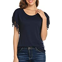Concep Women's Sexy Tassel Short Sleeve Tops Summer Cotton Casual Round Neck Blouse Shirt