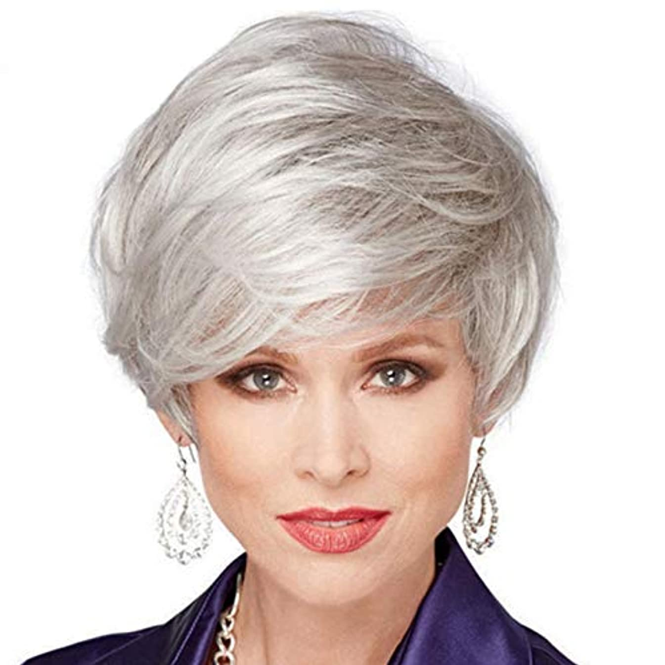 株式バタフライ入札Koloeplf ふわふわストレートショートウィッグ女性のリアルなシルバーグレーの髪中年のハイエンドのかつら偽のかつら (Color : SILVER, Size : 12INCH)