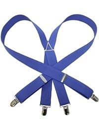 (エクサス)EXAS 無地サスペンダー(通常サイズ 幅3cm 日本製) ブルー