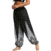 Plustrong Women's Boho Pants Yoga Harem Pants Wide Leg Hippie Pants with Smock Waist