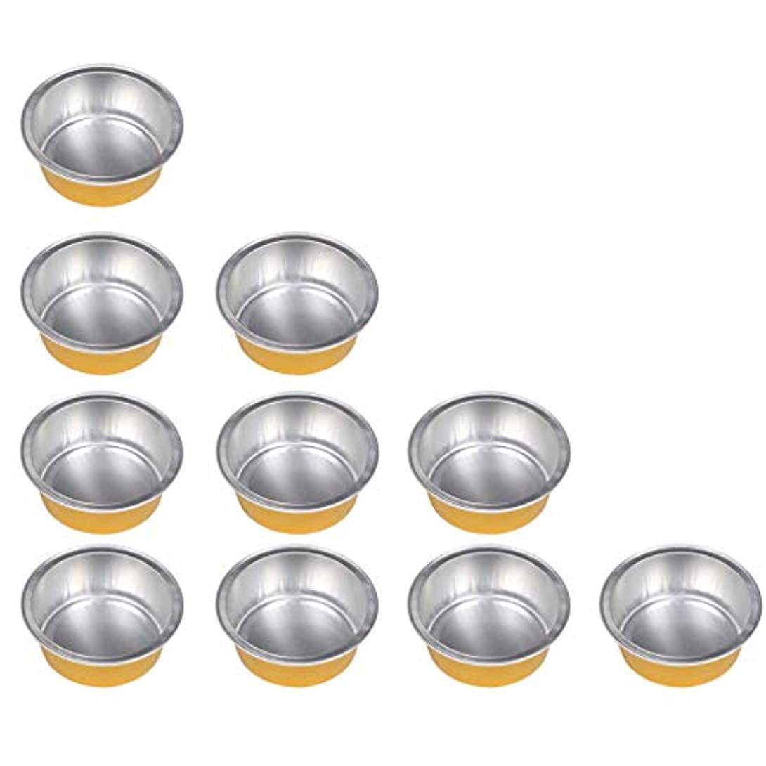 傷つきやすい砦完璧FLAMEER 10個 ワックスボウル ミニボウル アルミホイルボウル ワックス豆体 溶融 衛生的 2種選ぶ - ゴールデン1, 01