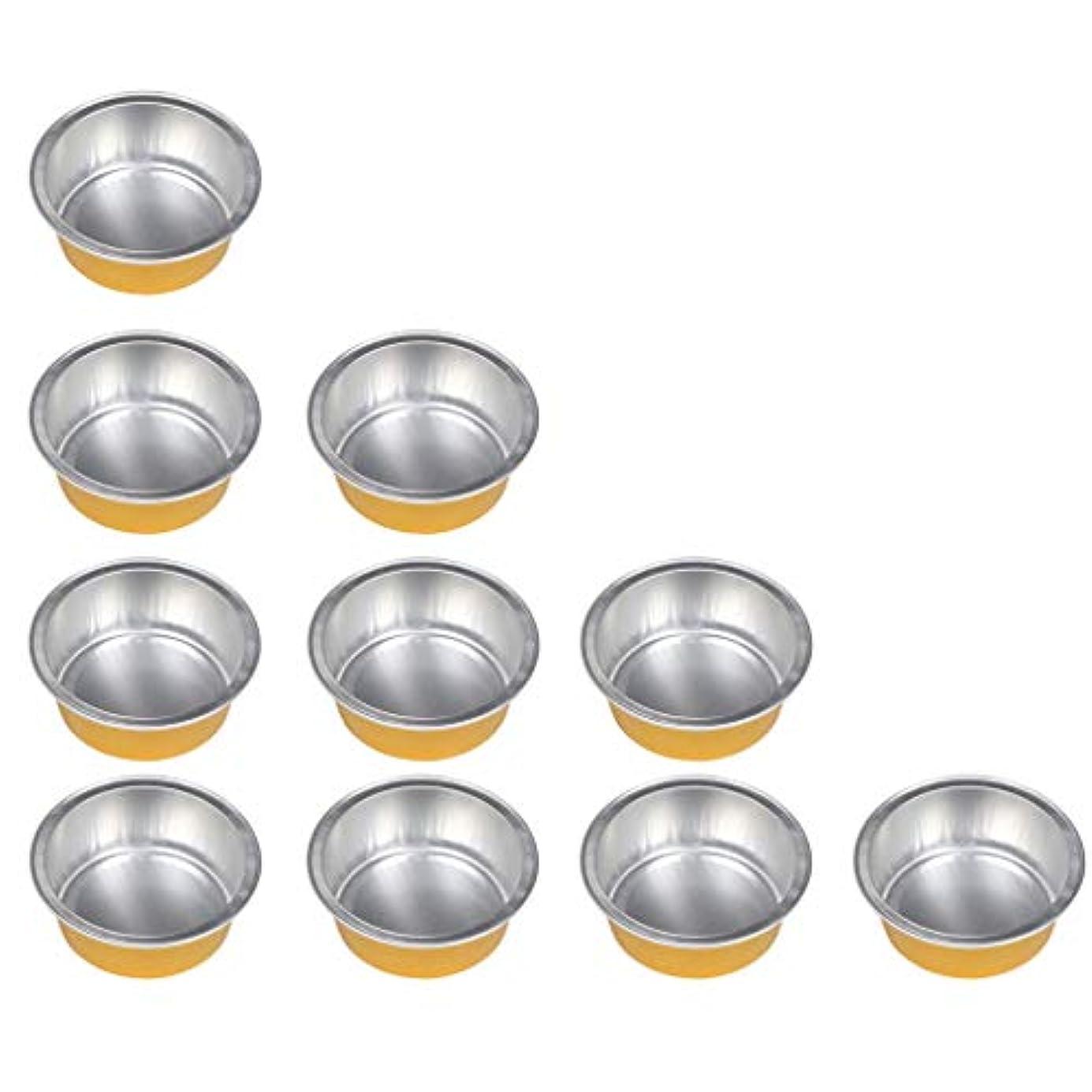 トーン水陸両用大混乱Hellery 10個セット ワックスボウル ミニボウル アルミホイルボウル ワックス豆体 溶融 衛生的 2種選ぶ - ゴールデン1