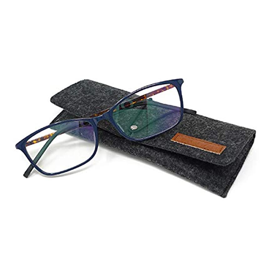 ビグラッド(BEGLAD) 老眼鏡 ネイビー 度数:+1.00 【軽量フレーム ブルーライトカット対応 おしゃれなケース付】 BG4004NV/DBR