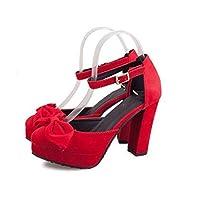 [ランボ] 前厚ストーム美脚パンプス レディース パンプス ヒール スエード 22.0cm 痛くない 歩きやすい 靴 結婚式 パーティー 美脚 ラウンドトゥ おしゃれ かわいい シンプル 大人 女性 黒 赤 春 夏 赤色