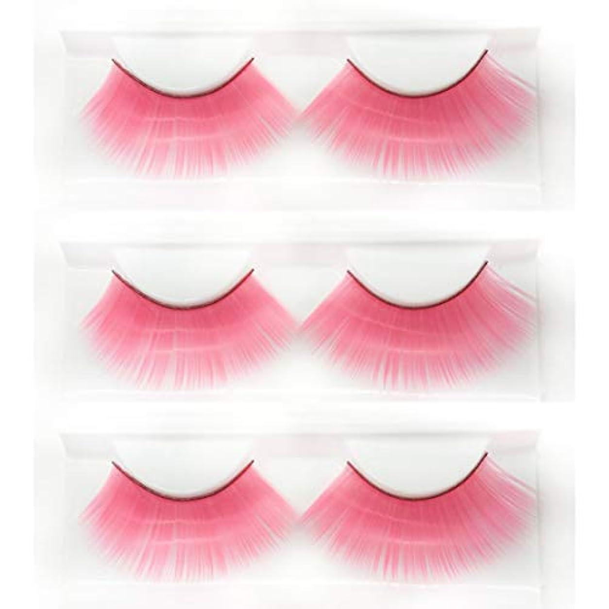リズミカルなに付けるリングロールプレイの仮面舞踏会に適した、ピンクの長い太いつけまつげ、斬新なファッションの豪華な誇張されたスタイルの3組、再利用可能