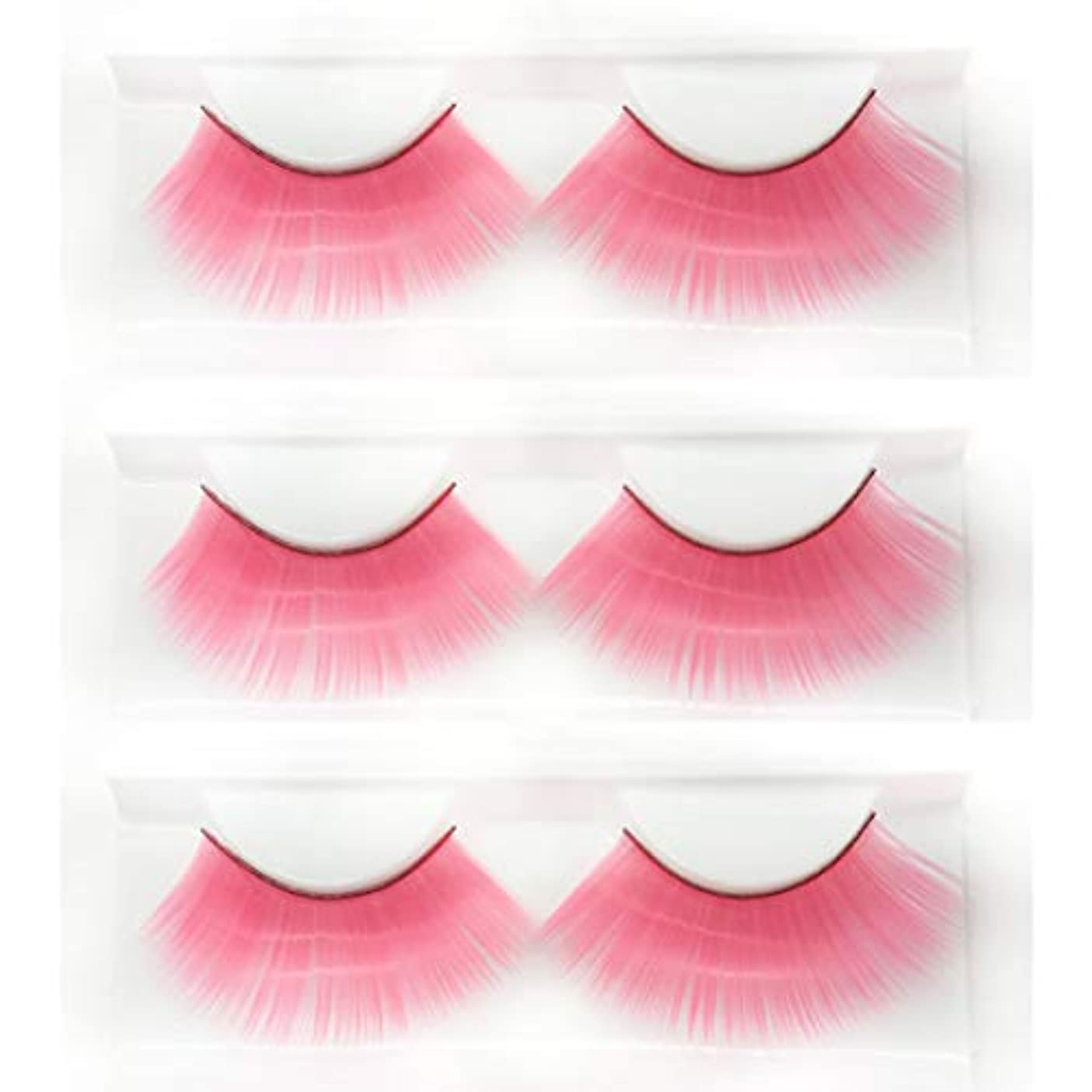 ロールプレイの仮面舞踏会に適した、ピンクの長い太いつけまつげ、斬新なファッションの豪華な誇張されたスタイルの3組、再利用可能