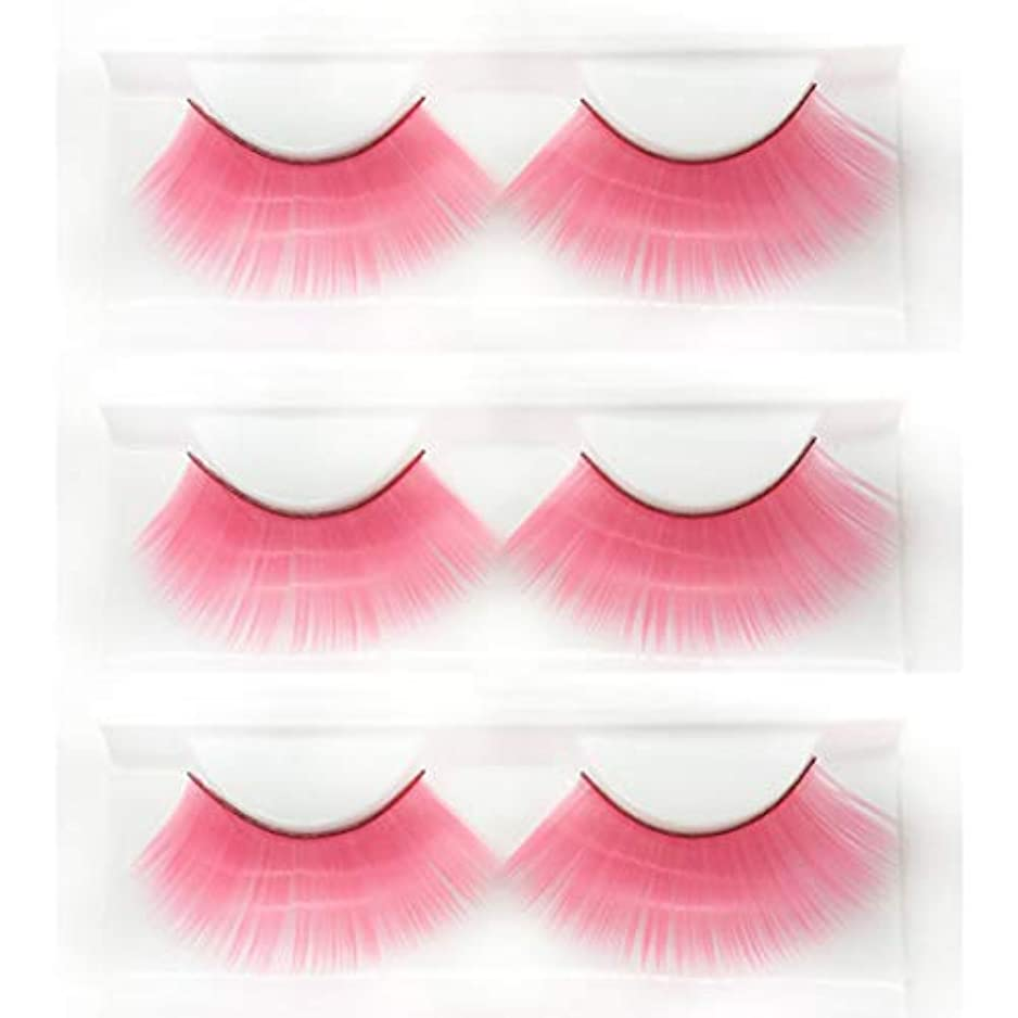 基礎石灰岩聖域ロールプレイの仮面舞踏会に適した、ピンクの長い太いつけまつげ、斬新なファッションの豪華な誇張されたスタイルの3組、再利用可能