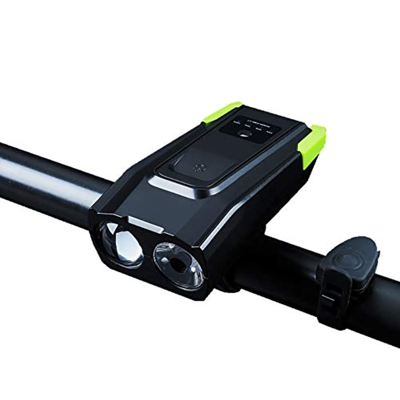 ラウンジタオルストライドLED自転車ライト、充電式スーパーブライトIPX6防水自転車アクセサリーホーンスピーカー4000mAh 800ルーメングレアフラッシュライト