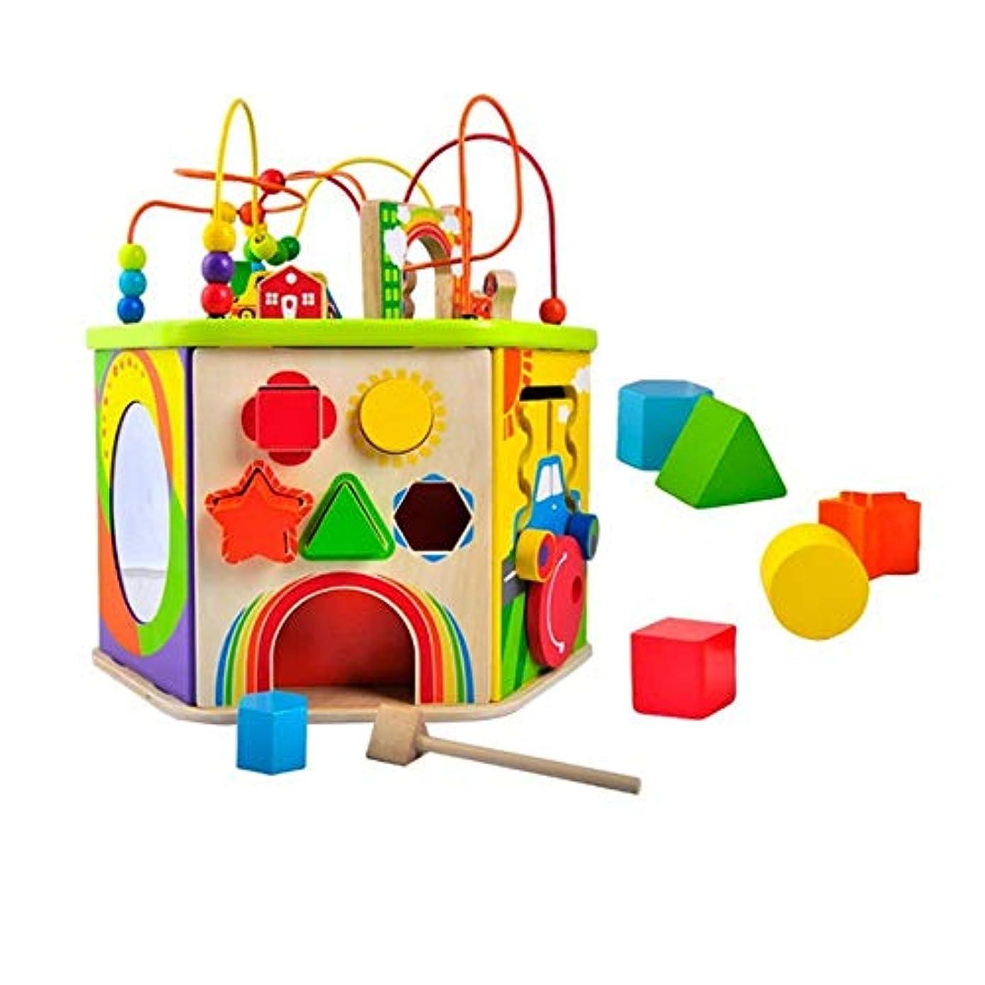 熱逆さまにこれまでビーズコースター ルーピング パズル木のおもちゃ知的玩具赤ちゃんの早期教育六面体教育玩具、1-12男の子と女の子のためのギフトをビーズ 知育 アクティビティキューブ 子ども 知育玩具 (色 : マルチカラー, サイズ : 38x41x43cm)