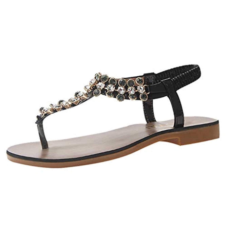 思いやり発音する配管工Expxon Tech つま先 サンダル ボヘミアン ビーズ ヘリンボーンサンダル フラット婦人靴 妖精の靴35-39 カジュアルシューズ 歩きやすい 日常着用 3cmヒール ローヒール ローヒール歩きやすい 美脚