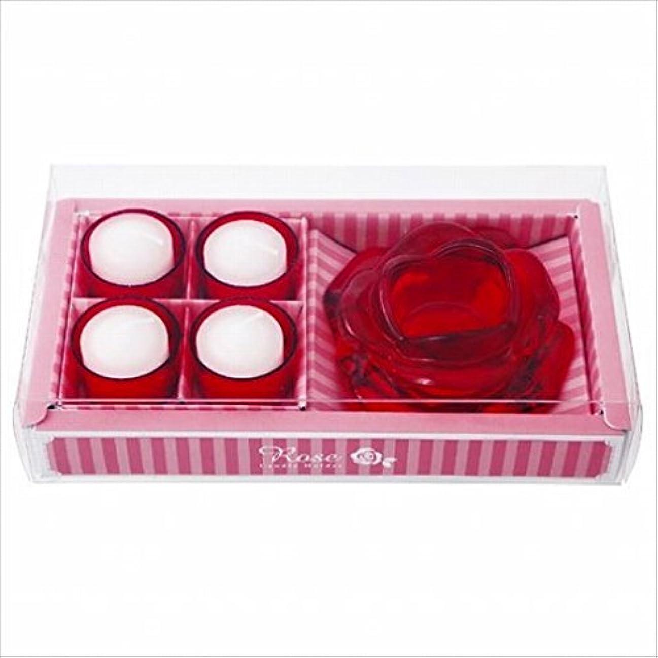 参照するオフェンスお風呂を持っているカメヤマキャンドル(kameyama candle) ローズキャンドルホルダーギフト 「 レッド 」 ギフトセット