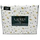 Lauren キングシーツセット 100%コットン 4点セット ブルーとイエロー ホワイトに野生の花