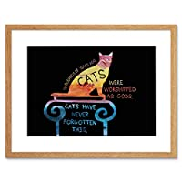 Cats Worshipped Never Forgotten Quote Typography Paint Black Art Framed Wall Art Print 見積もりタイポグラフィペイント壁