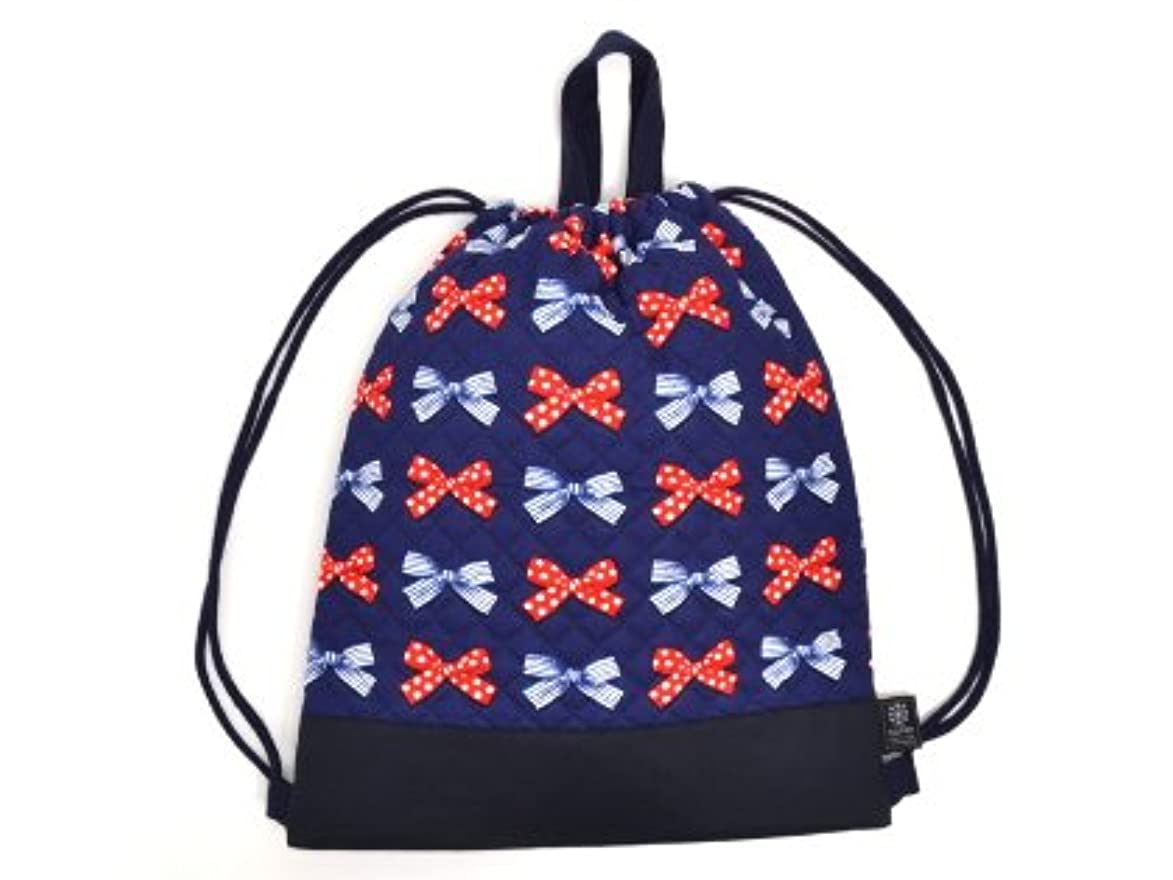 業界市場ヘルシーナップサック 巾着 バッグ ポルカドットとストライプのフレンチリボン(ネイビー) N0444400