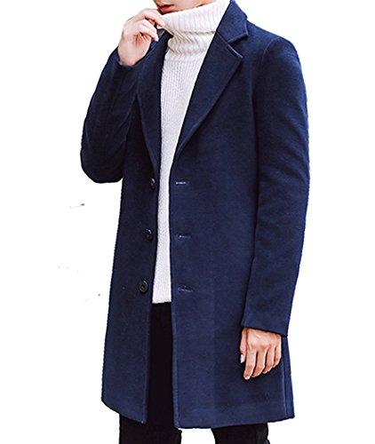 (マガザンレーブ) mgzan rev メンズ メルトン コート チェスターコート ロング 丈 アウター CO-1 (04.ネイビー(M))