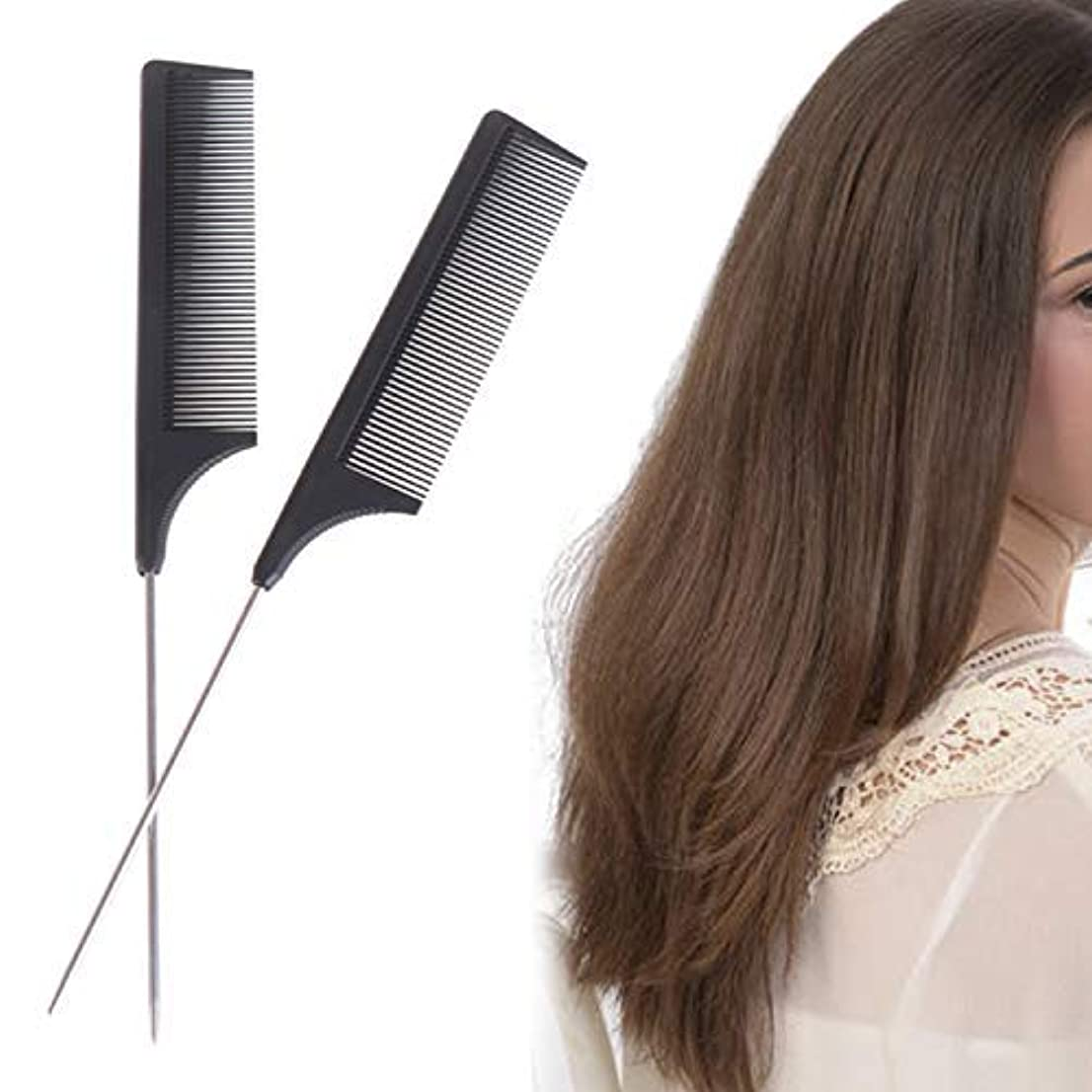 2 Pieces Comb Black Tail Styling Comb Chemical Heat Resistant Teasing Comb Carbon Fiber Hair Styling Combs for...