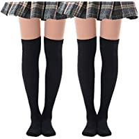 Black Thigh High Socks Over The Knee Socks for Women Knee High Socks Pack of 2 Pairs Size 5-9 women