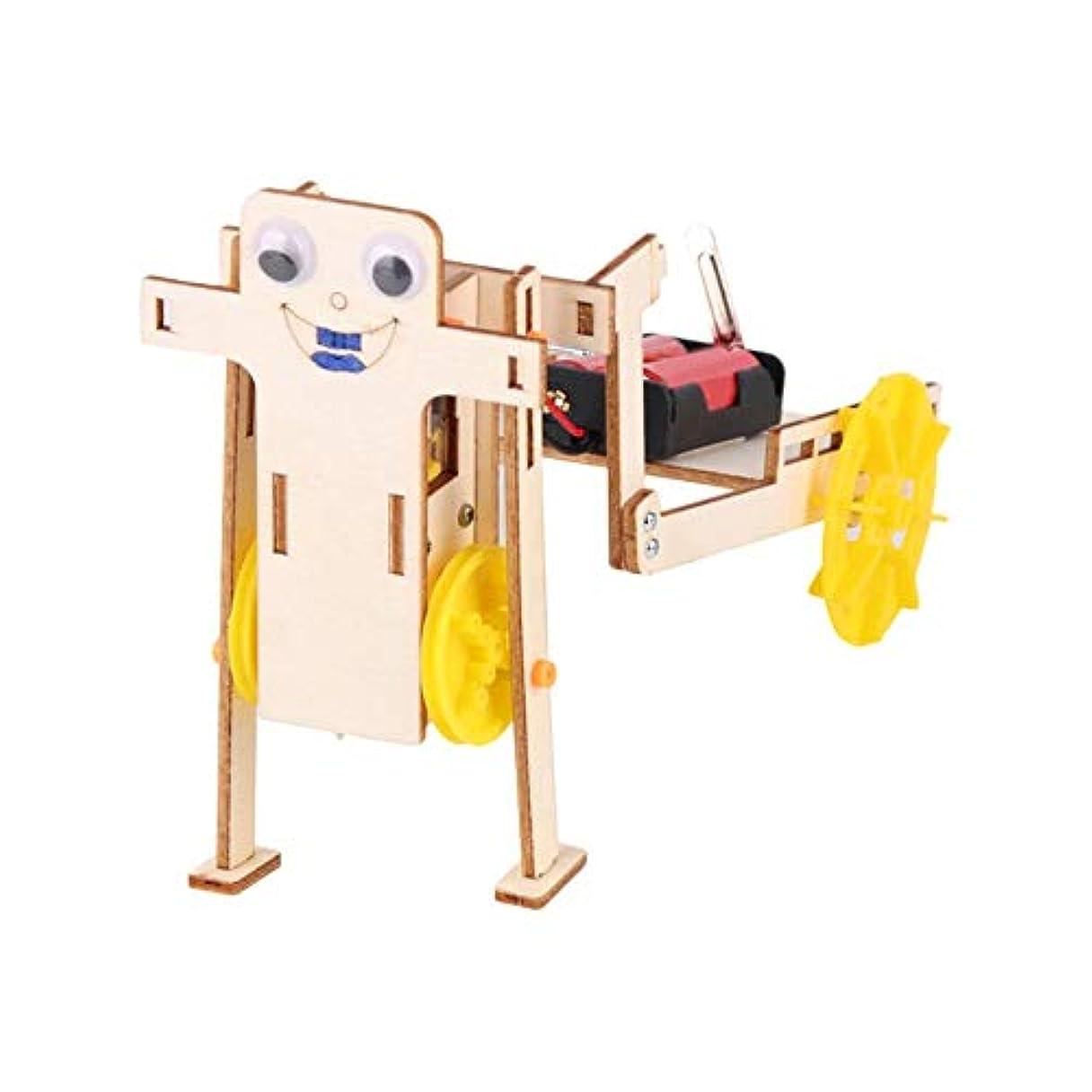 チャーミング黒人代表する科学教育の子供たちのDIYロボット、木製DIY引きロボット、子供のための学生のために組み立てます(Trolley robot)