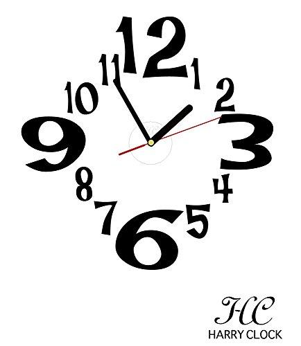 HARRY CLOCK ウォールステッカー 時計付き 貼ってはがせる 転写式 数字 (figures)/ブラック 約45cm×45cm