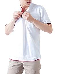 ティーシャツドットエスティー ポロシャツ 半袖 レイヤード 鹿の子 ポケット付き UVカット 5.8oz メンズ
