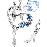 [ディズニー] Disney 公式 35周年[数 量 限 定] シンデレラ ネックレス ガラスの靴 ダイヤモンド オープンハート シルバー 925 ブルー 青