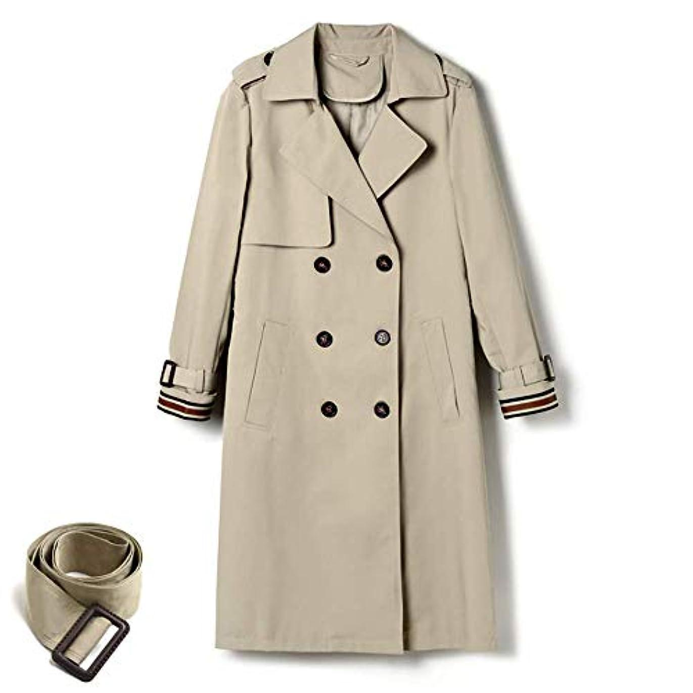 汚染された後手当英国風コートコート、スーツ襟ウエストコートレディースロングセクション秋の新しいコートコートレディースジャケットレディースコートレディースウィンドブレーカージャケット,L