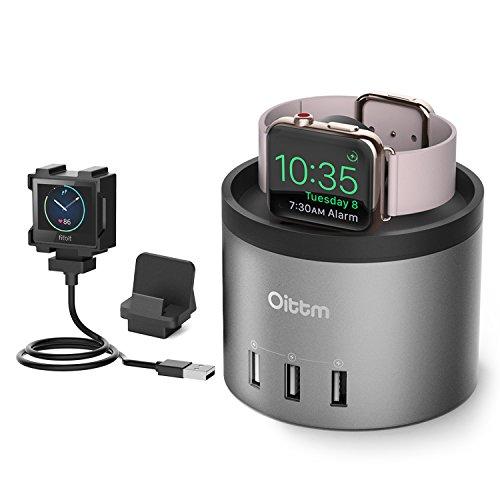 Oittm Apple Watch Series 3 充電スタンド 3in1充電スタンド Fitbit Blaze 充電 クレードル ドック 4ポート USB充電器 多機能 充電ケーブル収納可能 コンパクト アップルウォッチ 38mm / 42mm 各種対応、Fitbit Blaze、iPhone X、iPhone8/8 Plus、iPhone7/7 Plus等に対応 (ブラック)
