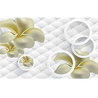 Ansyny 3D壁紙カスタム写真画像不織壁画プルメリアソフトバッグサークル3D壁壁画壁紙絵画リビングルーム-220X140CM