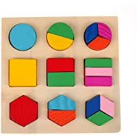 Lanlan 1PCS Children Educational Wooden Puzzle Toy Geometry Shape Matching Plate Equal Division Board Kids Basic Skills Development Brain Teaser Puzzles