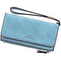 財布 女性の財布の女性の大容量多機能財布の学生のリストバンドの財布 レジャー財布 ( Color : Blue )