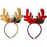 BESTOYARD 2本クリスマスヘッドバンドトナカイアントラーズヘッドバンドクリスマスフォトブース小道具ヘアアクセサリー(レッド+コーヒー)