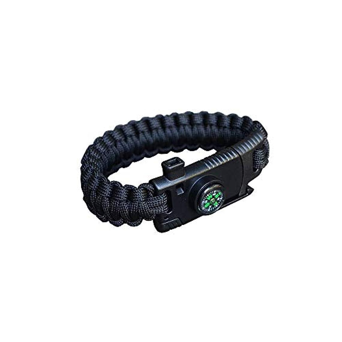 名誉ロッジボタン雑貨の国のアリス ブレスレット サバイバル ナイフ 多機能 コンパス ファイヤー スターター ロープ 防災 ブラック AS-ad234-bk