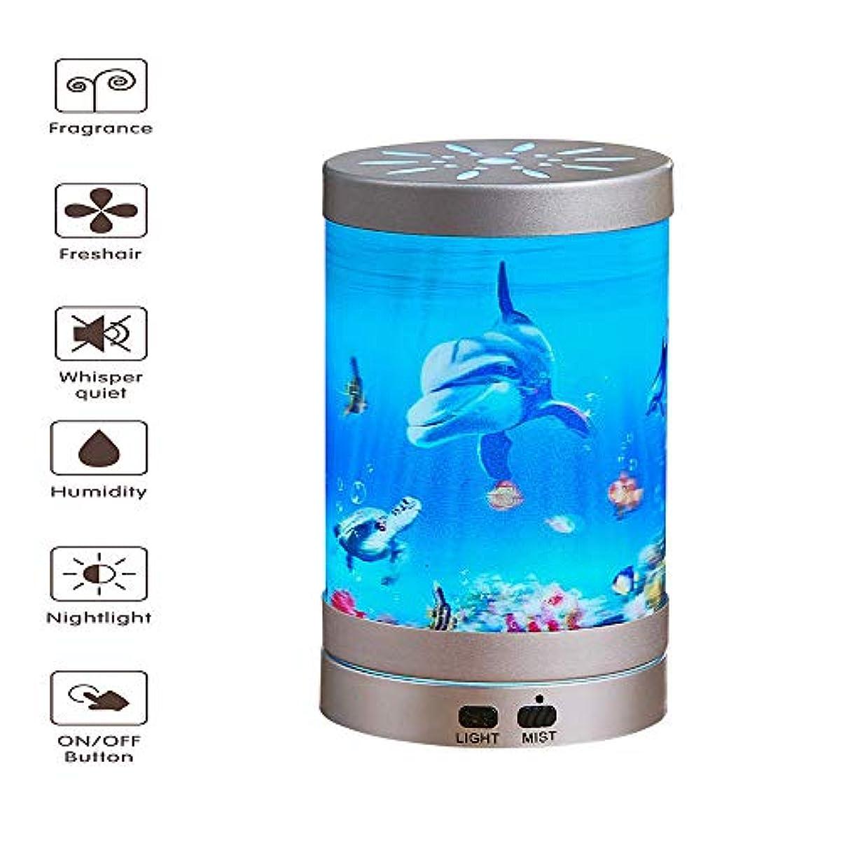 アルネ電圧者アロマディフューザー - 超音波空気加湿器LEDナイトライト7色交換水なし自動シャットダウン(海底世界200ml)