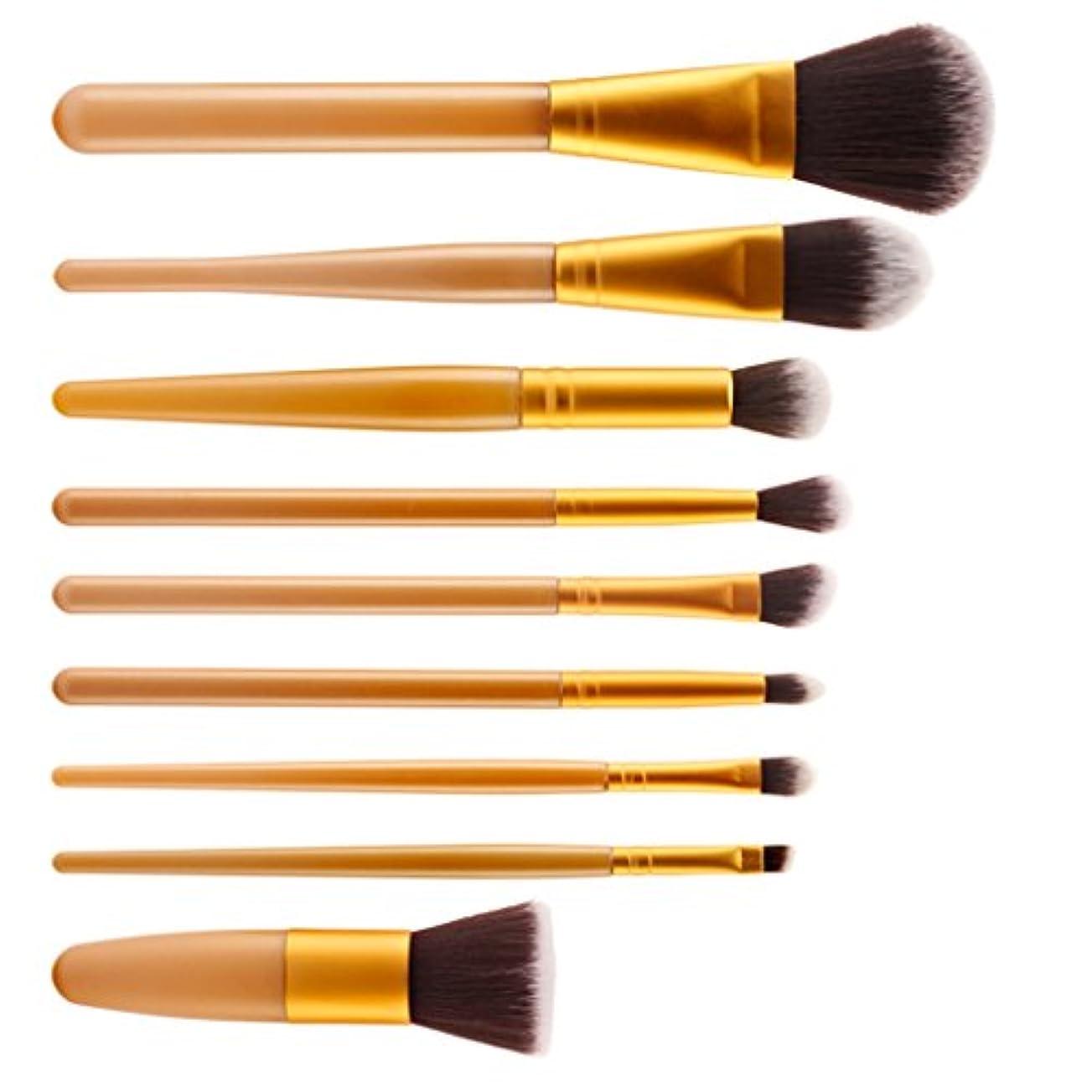 【ノーブランド品】 メイクブラシ プロ フェッショナル 化粧品 メイクアップ ブラシ セット 9本セット 9色選ぶ  - ゴールド