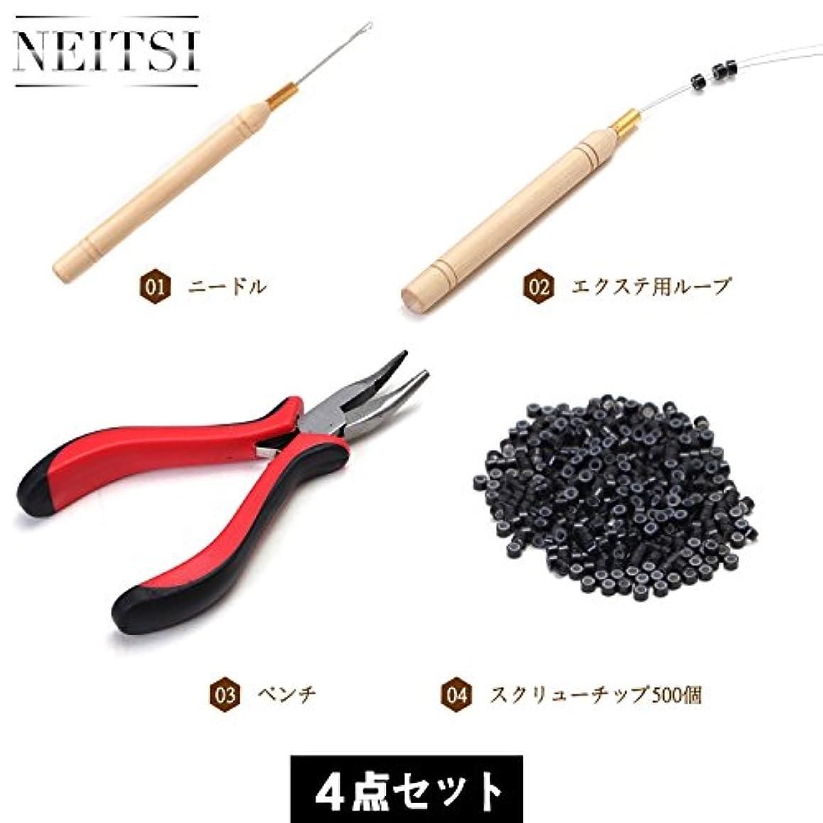 Neitsi(ネイティス)エクステ用プライヤー 先曲ペンチ エクステ用フック針 ビーズ針 ビーズ通し シリコーンビーズ マイクロリング 輪(500粒) ウィッグ用工具セット (ブラックのビーズ?工具セット)