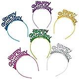 Happy Birthday ヘッドバンド 子供用 女の子 パーティーハット 記念品 6個セット