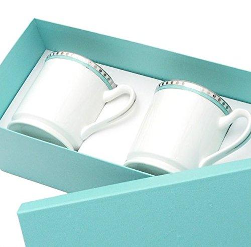 ティファニー TIFFANY&Co マグカップ プラチナ ブルー バンド マグカップ ボーンチャイナ 2個セット